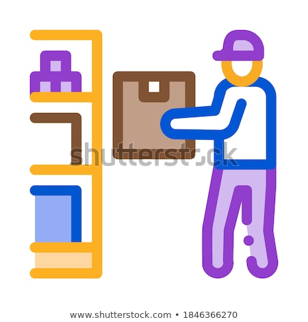 man restocking in cellar icon vector outline illustration Stock photo © pikepicture