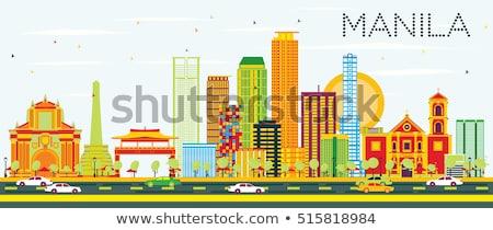 Abstrato Manila linha do horizonte cor edifícios Foto stock © ShustrikS