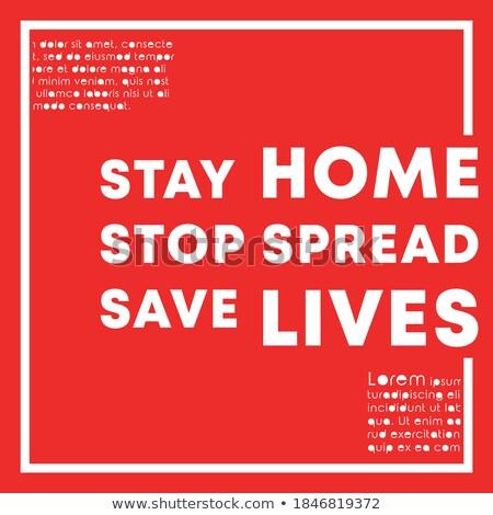 Blijven home opslaan poster ontwerp Stockfoto © SArts