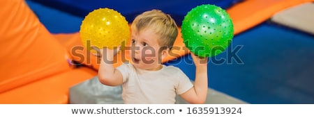 Weinig jongen bal banner lang formaat Stockfoto © galitskaya