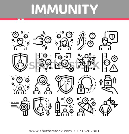 Immunity Human Biological Defense Icons Set Vector Stock photo © pikepicture