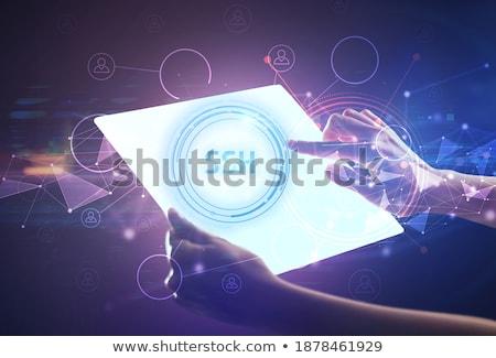 Strony futurystyczny tabletka php napis nowoczesne Zdjęcia stock © ra2studio