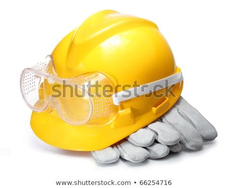 Citromsárga védősisak védőszemüveg műanyag felszerlés építőipar Stock fotó © stevanovicigor