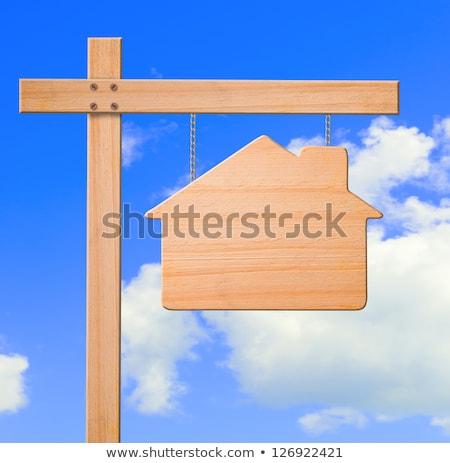 Blauw · uitsluiting · verkoop · onroerend · teken · huis - stockfoto © davidgn