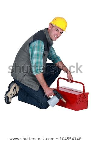 Handwerker halten Werkzeugkasten Schweißen Taschenlampe Business Stock foto © photography33