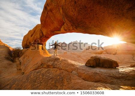 Foto stock: Granito · nascer · do · sol · deserto · Namíbia · África