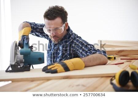 Man hurken zag home werknemer Stockfoto © photography33