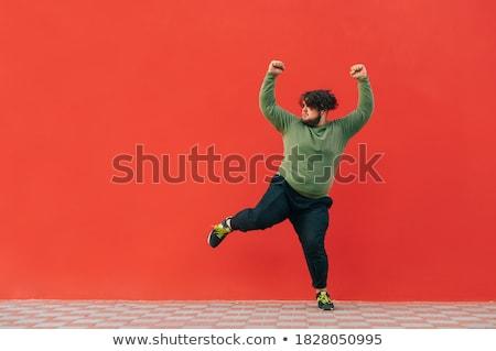 Vicces túlsúlyos táncos vektor rajz lány Stock fotó © pcanzo