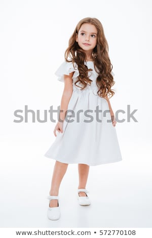 красивой Привлекательная женщина женщину позируют белое платье брюнетка Сток-фото © bartekwardziak