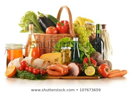 mand · worstjes · ham · wijn · voedsel - stockfoto © M-studio