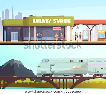 железнодорожная · станция · поезд · горизонтальный · город · движения · электроэнергии - Сток-фото © abbphoto