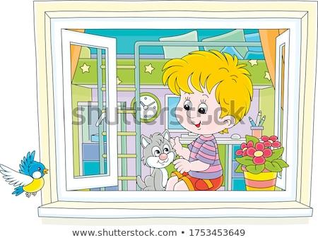 little boy and his flying cat Stock photo © balasoiu