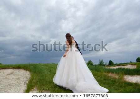 felice · sposa · lo · sposo · posa · autunno · foresta - foto d'archivio © luckyraccoon