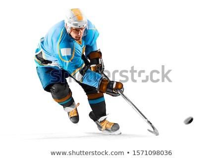 Jégkorong játékos pár tél festmény fiú Stock fotó © zzve