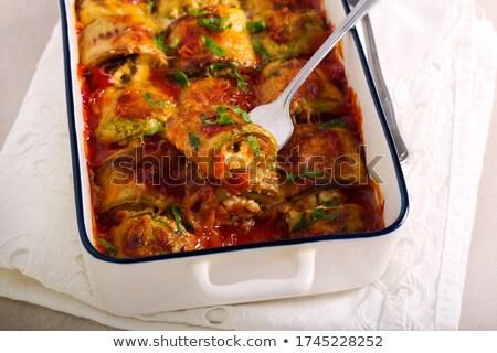 Courgette bourré tomates blanche plaque Photo stock © joker
