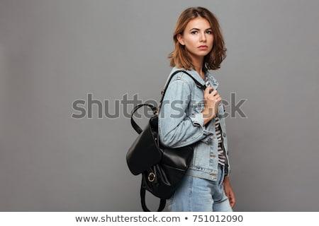 töprengő · divat · modell · pózol · másfelé · néz · oldalnézet - stock fotó © feedough