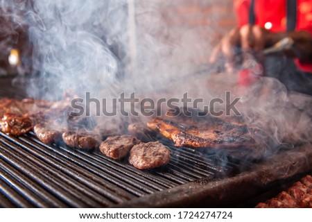 焼き 木材 背景 ボール 肉 牛肉 ストックフォト © M-studio