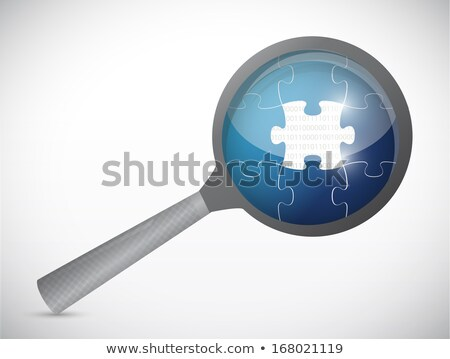 Puzzle Pieces Under Magnifier Illustration Over White Photo stock © alexmillos