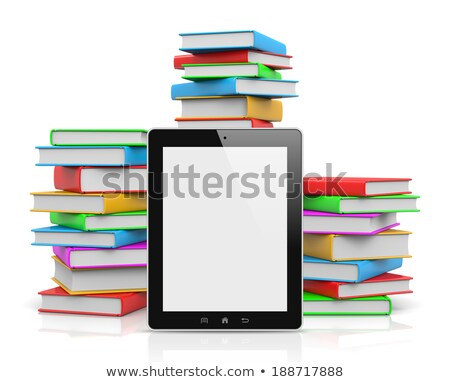 Tablet Pc Ahead of Piles of Books Stock photo © make