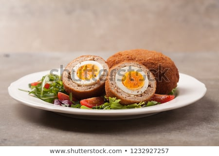 Stock photo: Minced meat with egg