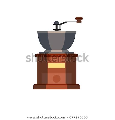 antik · kávé · daráló · arany · öreg · fa · asztal - stock fotó © feelphotoart