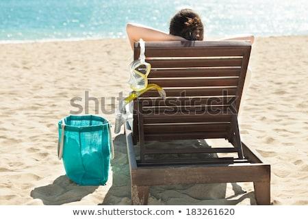 女性 スキューバダイビング マスク リラックス デッキ 椅子 ストックフォト © AndreyPopov