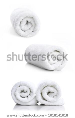 Trois roulé serviettes sauna isolé blanche Photo stock © compuinfoto
