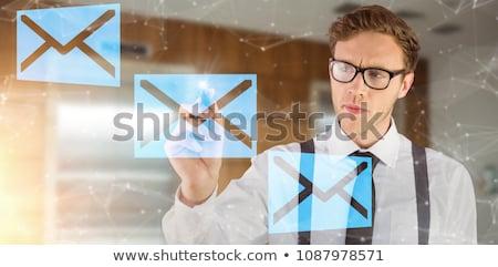Foto stock: Empresário · escrita · marcador · cinza · homem · feliz