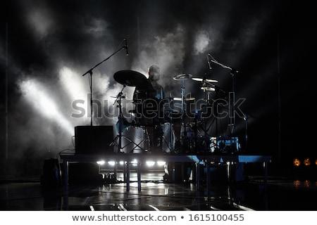 Homem tambor branco madeira fundo jeans Foto stock © bluering