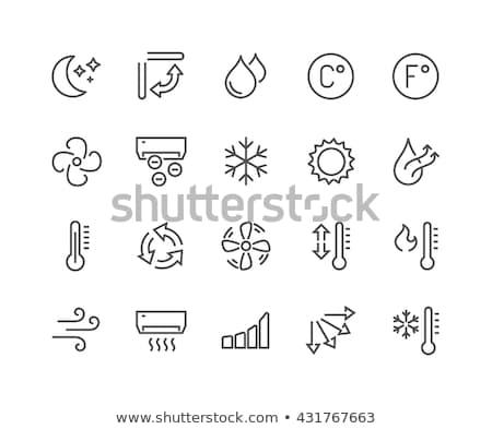 セット 温度 アイコン 実例 白 赤 ストックフォト © bluering