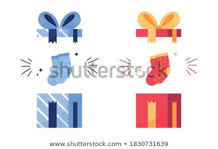 Bleu arc ruban à pois papier boîte Photo stock © beholdereye
