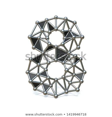 Foto stock: Metal · dígito · número · oito · 3D · 3d · render