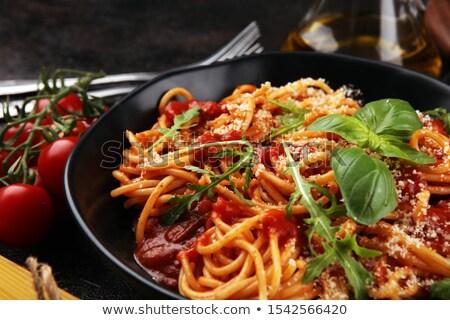 spagetti · çatal · bıçak · takımı · şişe · seçici · odak · odak - stok fotoğraf © fotogal