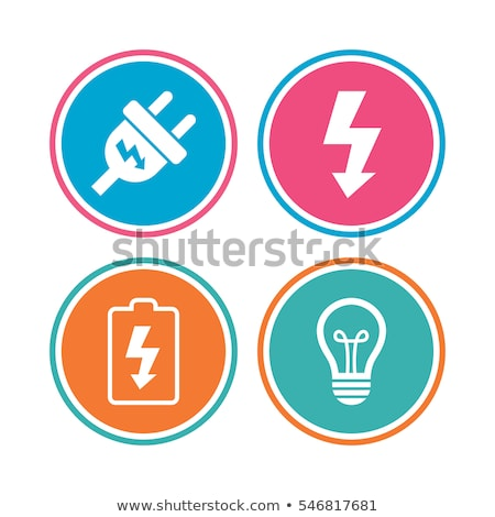 Plug icon on orange round button Stock photo © Imaagio