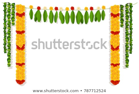 indian garland of flowers and leaves religion festive holiday decoration stock photo © orensila