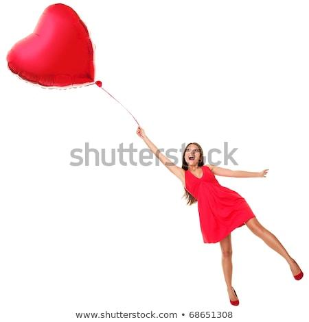 Stok fotoğraf: Genç · kız · büyük · kırmızı · kalp · balon