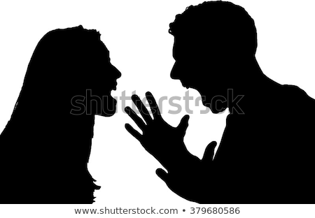 Quarrel between man and woman isolated on white illustration Stock photo © tiKkraf69