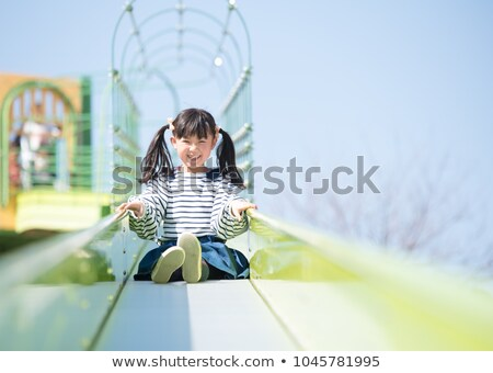 Woman and child play on slide in a park Stock photo © IS2