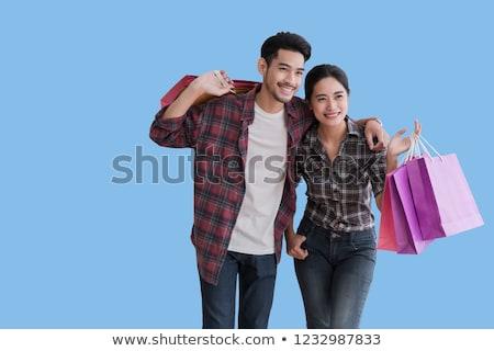 азиатских женщину торговых улыбка корзина Сток-фото © FrameAngel