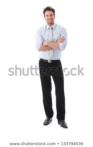 Adult caucasian man 30s with stubble in white shirt looking on c Stock photo © deandrobot
