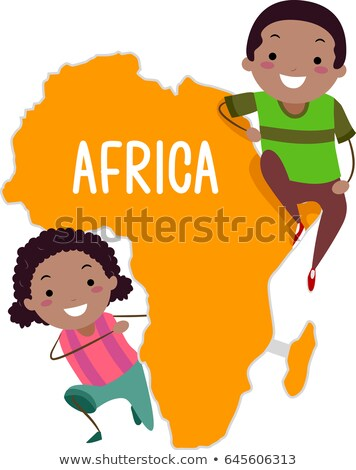 Stickman Kids Continent Africa Illustration Stock photo © lenm