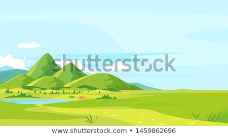Turista montanha lago homem viajante colina Foto stock © Kotenko
