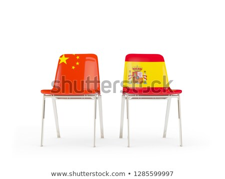 Two chairs with flags of China and spain isolated on white Stock photo © MikhailMishchenko
