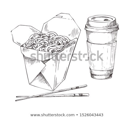 Noodles in Box and Paper Cup Drink Sketch Icon Set Stock photo © robuart