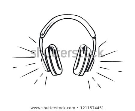Muziek hoofdtelefoon luid spelen schets schets Stockfoto © robuart