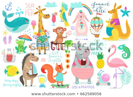 Garabato animales feliz ardilla ilustración naturaleza Foto stock © colematt