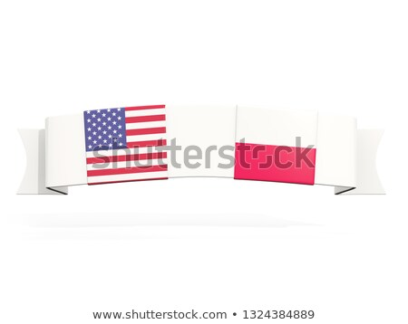 Bandeira dois praça bandeiras Estados Unidos Polônia Foto stock © MikhailMishchenko