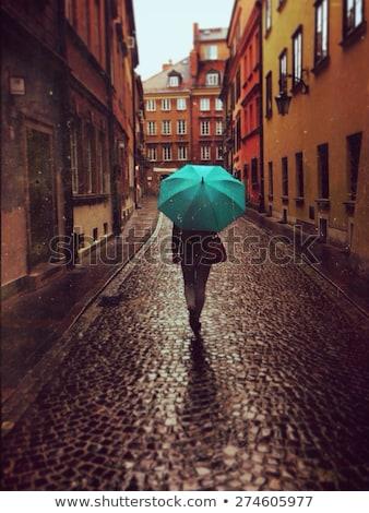 woman with umbrella in autumn city of tallinn Stock photo © dolgachov