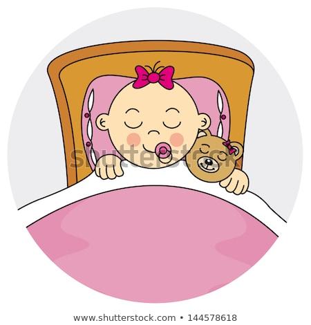 Keret sablon lány alszik ágy illusztráció Stock fotó © colematt