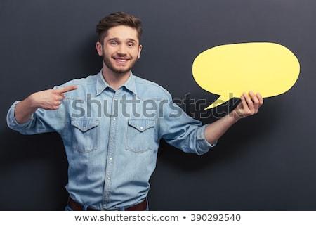 Student wijzend handen jonge onschuldige hand Stockfoto © ra2studio